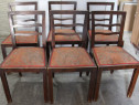 Set 6 Scaune Vintage Stil ArtDeco; Scaun din lemn masiv cu s