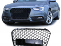 Grila sport tuning Audi A5 B8 8T RS Style negru lucios (11-1