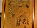 3026-Tablou vechi 1918: Drumul mortii. Grafica veche roman..