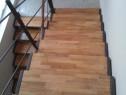 Trepte din lemn masiv pentru scari din beton