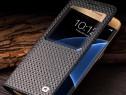 Husa slim piele Qialino Samsung S7 EDGE smart cover NEGRU