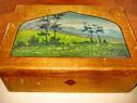 3986-Caseta din lemn masiv pictata veche anii 1900.