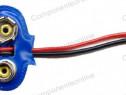 Suport baterie 6F22, cu cablu - 123971