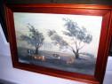Tablou peisaj cu vaci pe campie ulei pe placaj stare F.B.