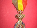 1468-Medalia Muncii-Decoratie Belgia veche metal argintat.
