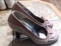 Pantofi dama, piele naturala, marimea 37, culoare maro