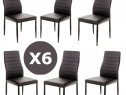 Set 6 scaune negre de bucatarie-transport gratuit