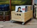 Ladita de viniluri lemn masiv handmade discuri pick up