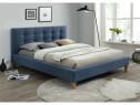 Pat modern din stofa de culoare albastra, 160x200cm