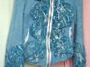 Jacheta groasa din lana Cardigan accesorizat piele intoarsa