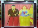 Tablou pictat manual pe panza in ulei , Sot si sotie A-445