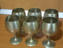 Set 6 pahare vechi din alama argintata