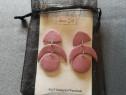Cercei roz perlat surub argint 4,5 cm lungime - Noi ambalati
