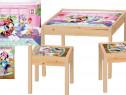 Masute copii printate+2 scaunele din lemn masiv