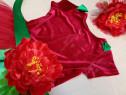 Costum serbare floare rosie bujor spectacol halloween
