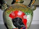 553a-amfora greceasca din ceramica colorata cu scena antica.