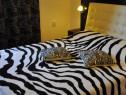 Patura blanita decorativa zebra alb-negru/Cuvertura pat