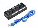 Hub USB 3.0 cu 4 porturi si buton on/off pe fiecare port