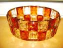B218-Fructiera fatetata cristal Art Deco veche cu roza vant.