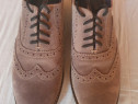 Pantofi Oxford dama, din piele intoarsa