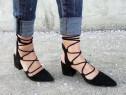 Pantofi cu toc stiletto si șnur negri piele întoarsă gladiat