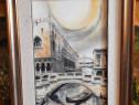 Tablou cu pictura in creion pe panza 70 x 50