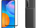 Huawei P SMART 2021 Husa Silicon Carbon si Folie Sticla 11D