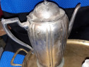 Ceainc si tava din argint -doua ceainice din alama argintata