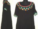 Rochie noua, din vascoza fina, cu broderii colorate pe tul