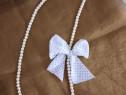 Colier din perle acrilice alb perlat cu funda atasata - Nou