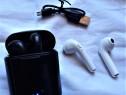 Casti wireless I7s bluetooth, alb, negru, 2 perechi