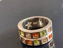 Inel argint cu cristale colorate