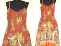 Rochie din panza fina de bumbac, cu imprimeu floral colorat