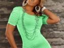 Bluza cu umeri bufanti verde menta starshiners + cadou surpr