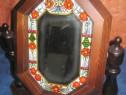 105A-Toaleta dama lemn cu sticla rustic pictata.