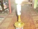 5232-Lampa Veioza veche Franta in bronz cu portelan central
