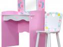 SERC103 - Set masuta, scaunel, oglinda - roz si alb , MDF