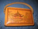 1256-Poseta Vintage China din piele perioada 1960 stare buna