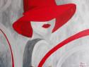 """Tablou pictat """"Doamna cu pălărie roșie"""""""