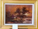 Tablou - pictura - Peisaj cu luna pe lac