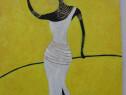Africana 5-pictura ulei pe carton