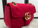 Genti Gucci catifea/italia,logo/lant metalic auriu