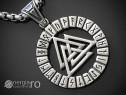 Amuletă, Pandantiv, Valknut Odin cu Rune INOX - cod PND111