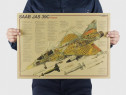 Poster vintage avion SAAB JAS 39C Gripen hartie kraft