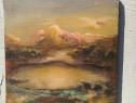 Tablou vechi cu lac vulcanic
