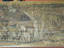 Masa Lemn Exotic cu Scene Elefanti