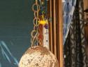 Lampa de tavan sferica din tesatura naturala