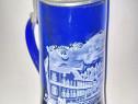 A710-Halba sticla albastra deosebita Braunion Brauerei Ziph.