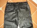 Pantaloni barbati,model clasic cu buzunare,piele naturala,54