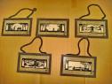 382A-Grafica 1900-Set 5 Aplice miniatura tema peisaje rustic